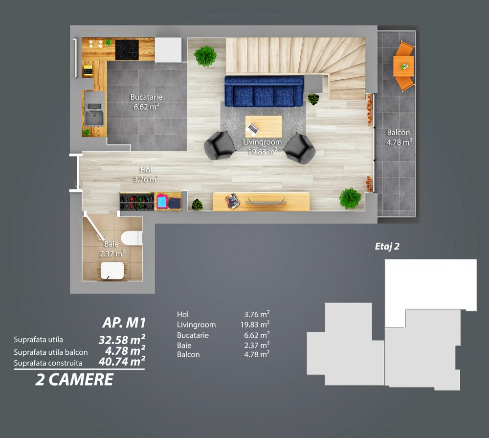 Etaj 2 - Apartament Duplex - Parcul Carol