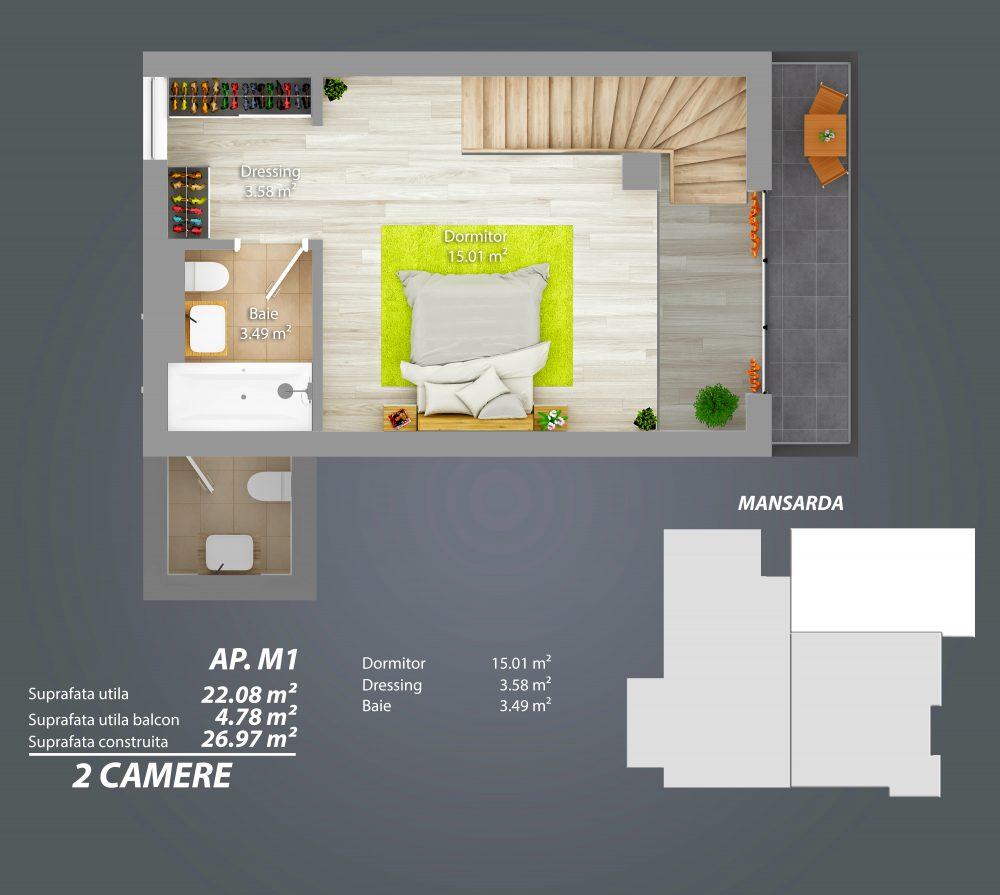 Mansarda - Apartament Duplex - Parcul Carol
